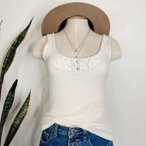 • FREE PEOPLE • cream ribbed & lace tank top
